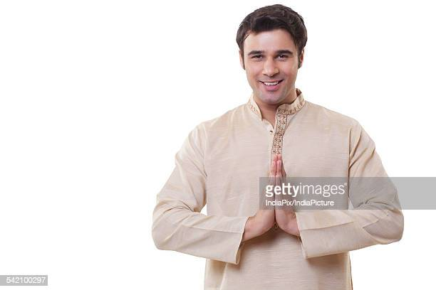 Portrait of a Bengali man greeting