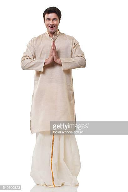 Portrait of a Bengali man greeting