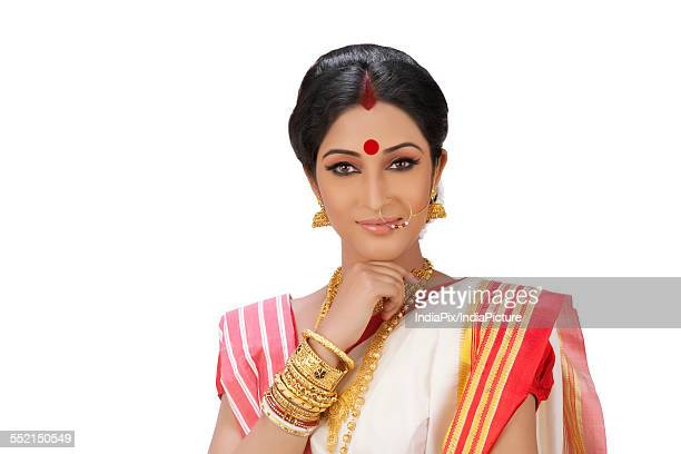 portrait of a bengali woman - bindi stock pictures, royalty-free photos & images