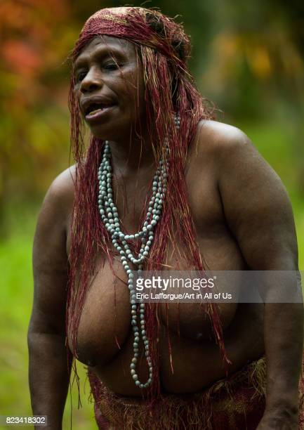 Portrait of a Big Nambas tribe woman Malampa Province Malekula Island Vanuatu on August 26 2007 in Malekula Island Vanuatu