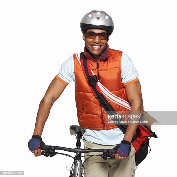Portrait of a bike courier