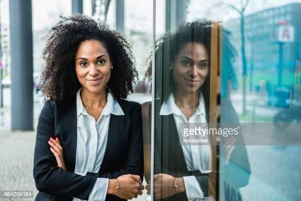 Portrait of a black businesswoman outdoors