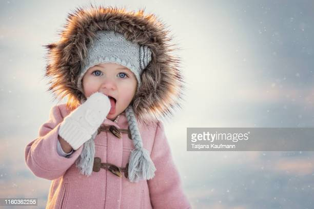 portrait of a blue eyed little girl in winter licking snow off her glove - froid humour photos et images de collection