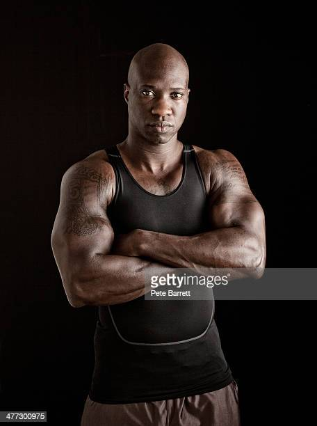 portrait of a body builder - black male bodybuilders stock photos and pictures