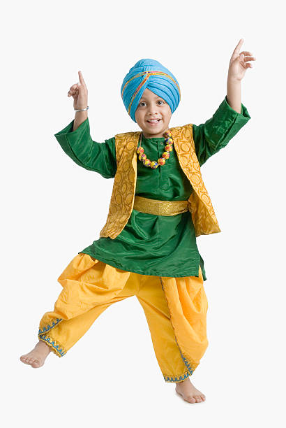 Portrait of a boy doing bhangra