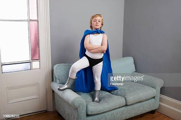 Portrait of a boy dressed as a superhero