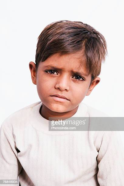 Portrait of a boy looking sad