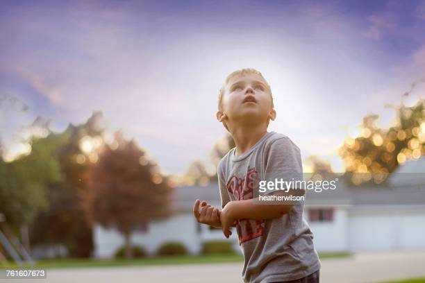 Portrait of a boy looking up at the sky