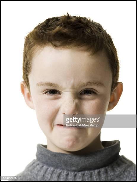 Portrait of a boy making a face