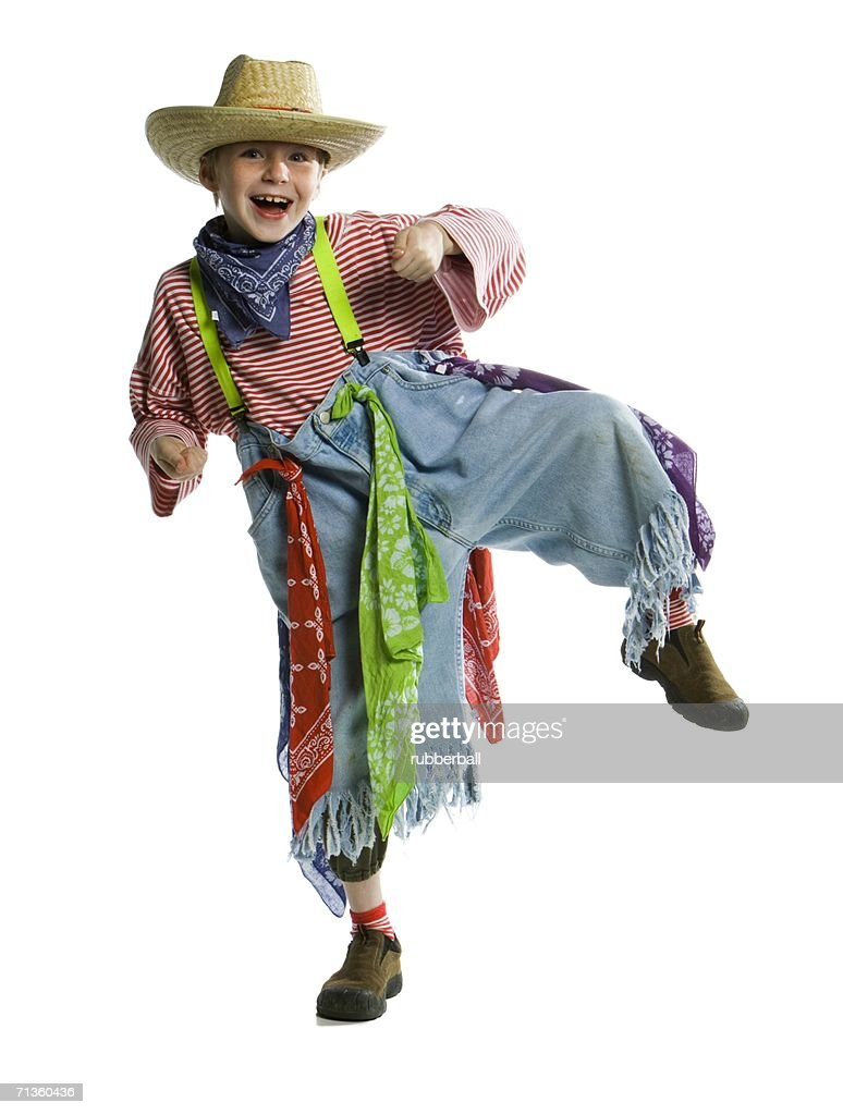 Portrait Of A Boy Wearing A Rodeo Clown Costume Stock