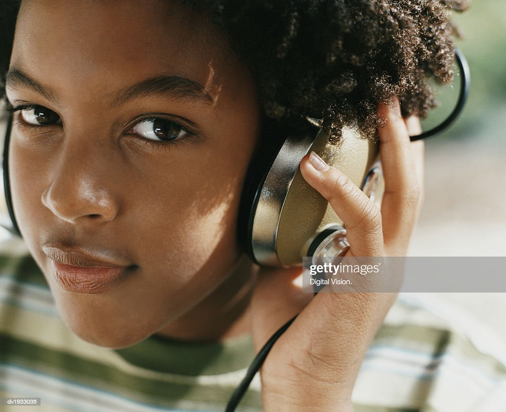Portrait of a Boy Wearing Headphones : Stock Photo