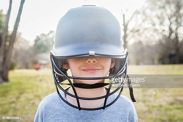 Portrait Of A Boy With Baseball Helmet