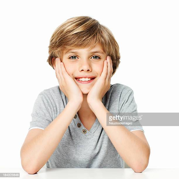 Portrait of a Boy With Head in Hands - Isolated