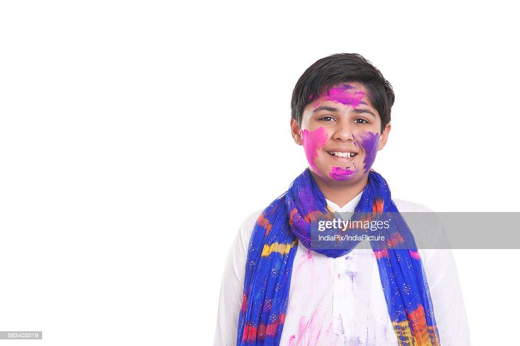 Portrait of a boy with holi colour : Stock Photo