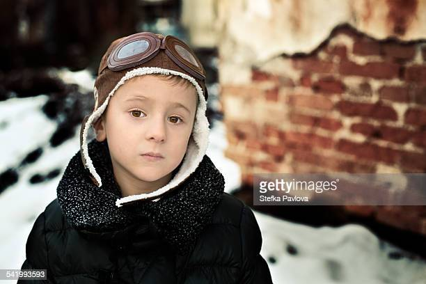 portrait of a boy with pilot hat - aviation hat stock photos and pictures