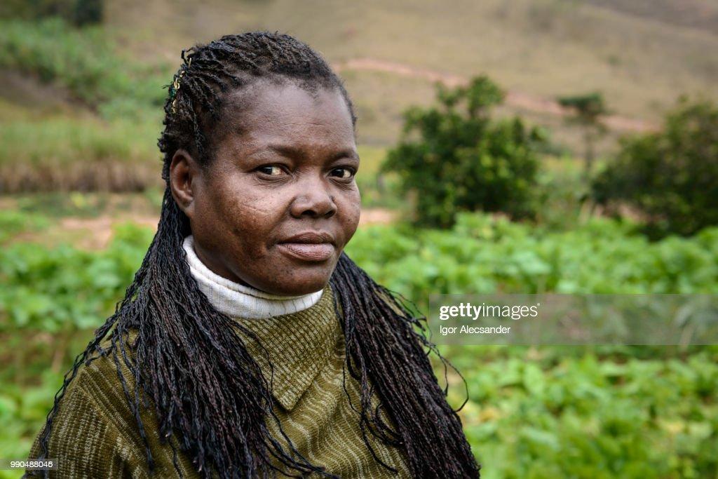 Portrait of a Brazilian farmer woman : Stock Photo