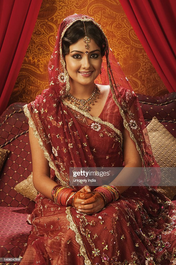 Portrait Of A Bride In A Traditional Wedding Dress Stock Photo ...