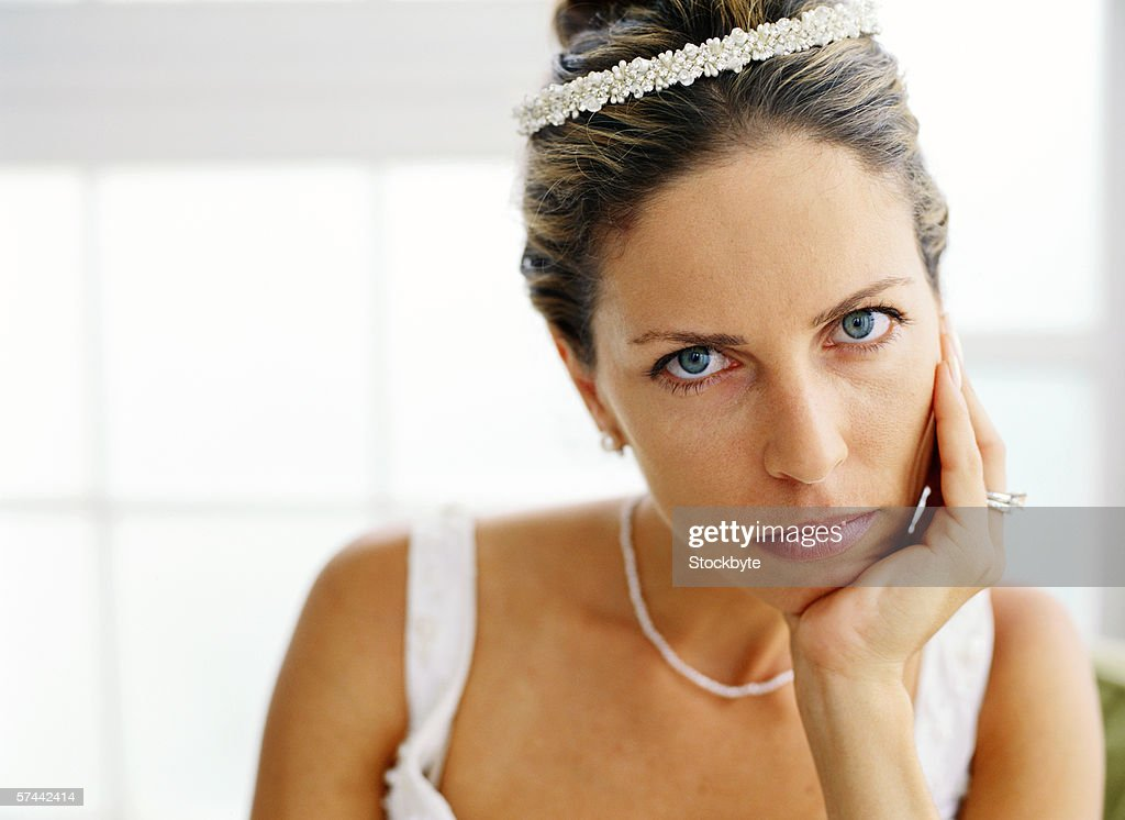 portrait of a bride waiting : Stock Photo
