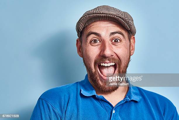 portrait of a british early 30's male - mouth open stock pictures, royalty-free photos & images
