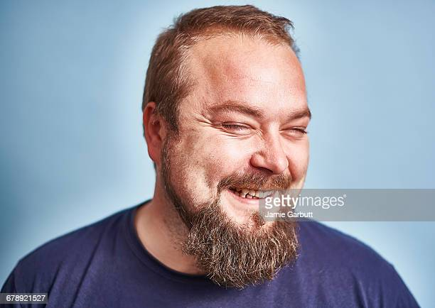 portrait of a british early 30's with a beard - chubby men stock photos and pictures