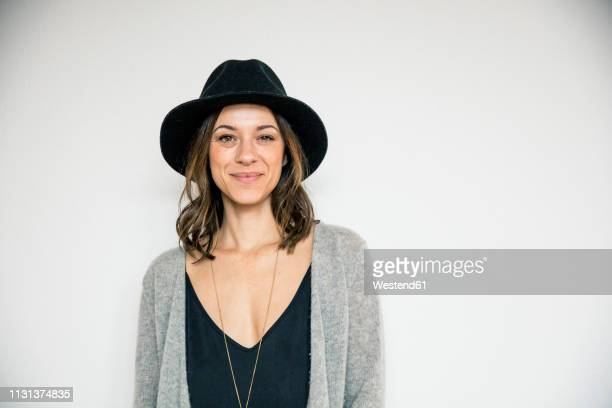 portrait of a bueaitiful woman, wearing a hat - fashionable stock pictures, royalty-free photos & images