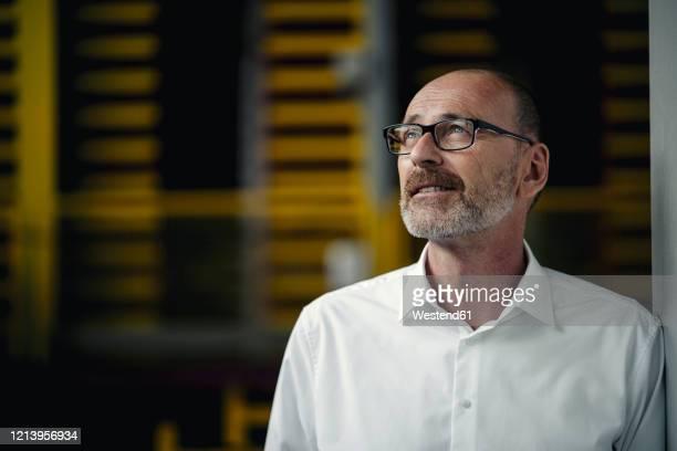portrait of a businessman in a factory looking up - blick nach oben stock-fotos und bilder