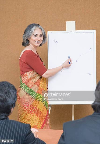 Portrait of a businesswoman giving presentation in a meeting and smiling