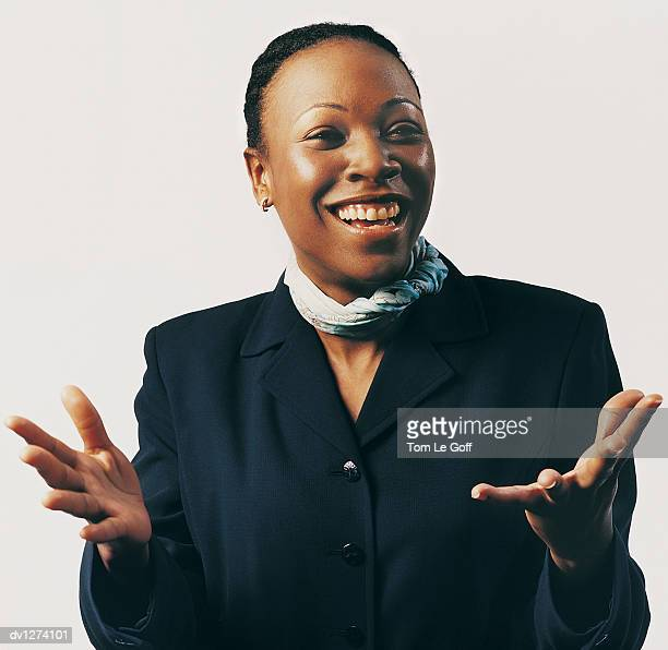 Portrait of a Businesswoman Smiling and Gesturing