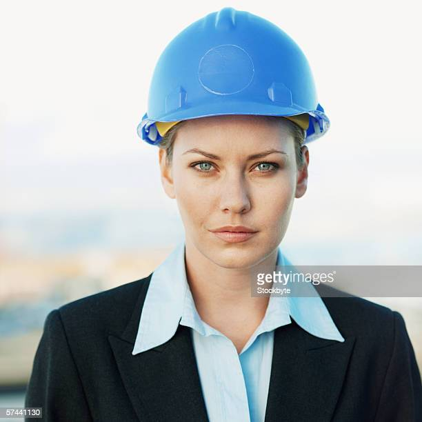 Portrait of a businesswoman wearing a hard hat