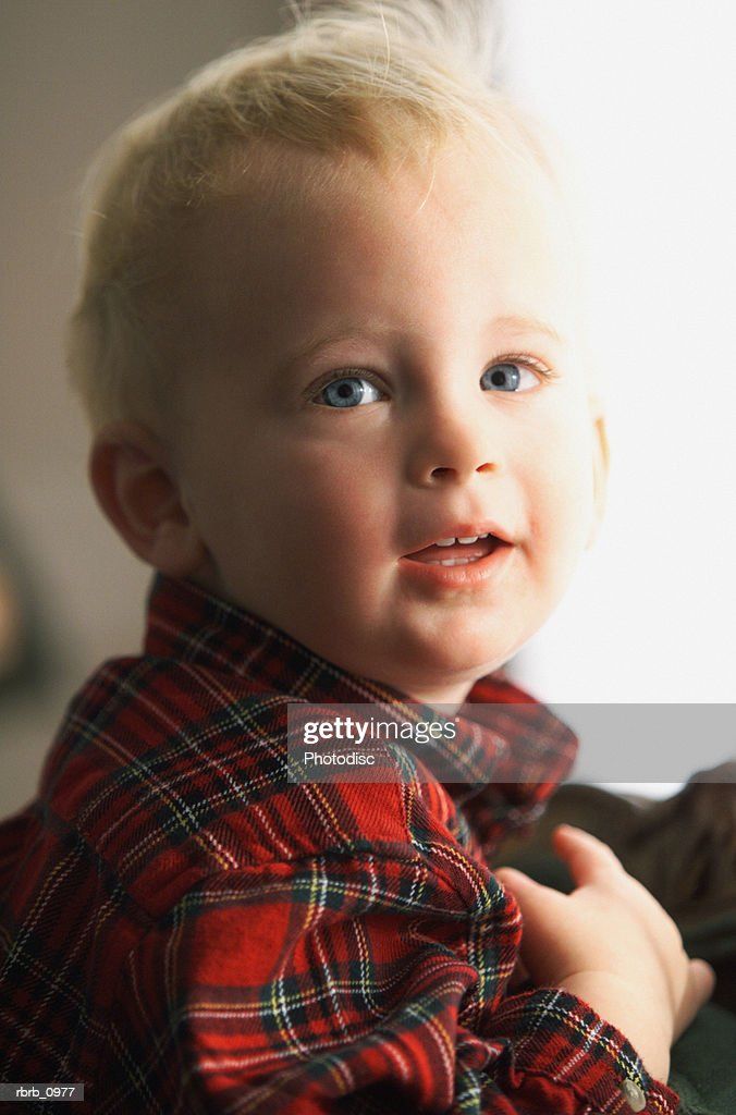 5197317db portrait of a caucasian blonde little boy in a red flannel shirt : Stock  Photo