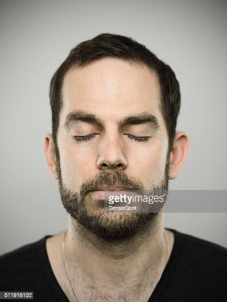 portrait of a caucasian real man - eyes closed stock pictures, royalty-free photos & images