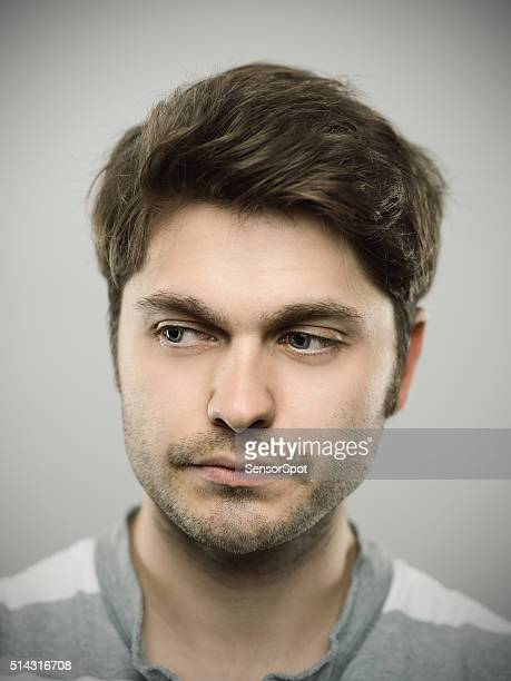 Portrait of a caucasian real young man.