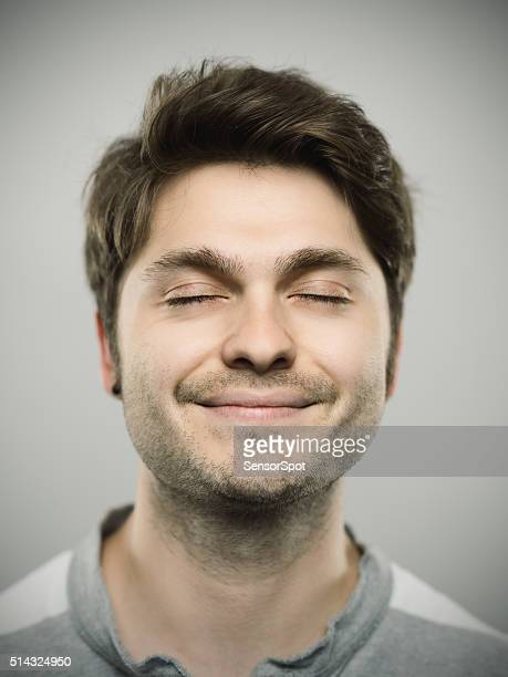portrait of a caucasian real young man - eyes closed stock pictures, royalty-free photos & images