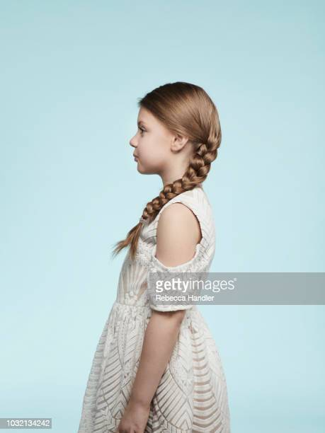 portrait of a caucasian redhead young girl - bambine femmine foto e immagini stock