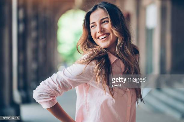 portrait of a charming woman - all shirts stock pictures, royalty-free photos & images