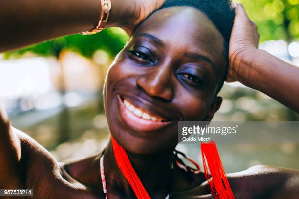 Portrait of a cheerful beautiful woman.