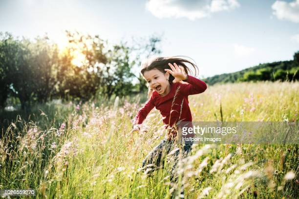 portrait of a cheerful happy small girl jumping outside in spring nature. - girls open mouth stock photos and pictures