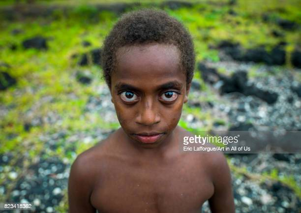 Portrait of a child with Big eyes Malampa Province Ambrym island Vanuatu on August 28 2007 in Ambrym Island Vanuatu