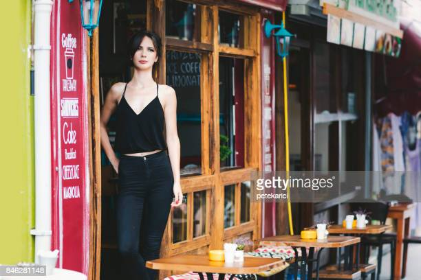 portrait of a coffee shop owner - kadikoy stock photos and pictures