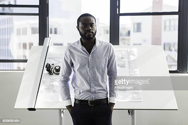 Portrait of a confident african architect.