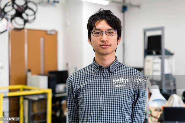 portrait of a confident engineering student - nerd stock pictures, royalty-free photos & images