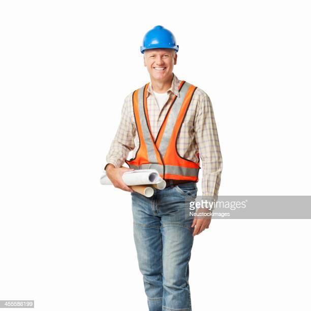Porträt ein Bauarbeiter-isoliert