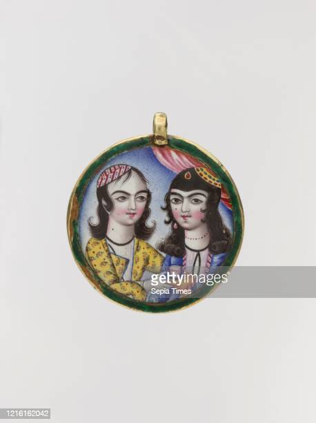 Portrait of a Couple in a Round Pendant, late 18th century, Attributed to Iran, Gold; enamel-painted, Diam. 20.6 mm., Jewelry, The enamels of Qajar...