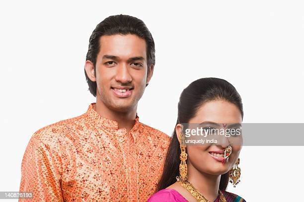 Portrait of a couple smiling in traditional clothing on Gudi Padwa festival