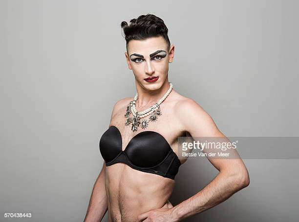 portrait of  a cross dresser. - transvestite stock photos and pictures