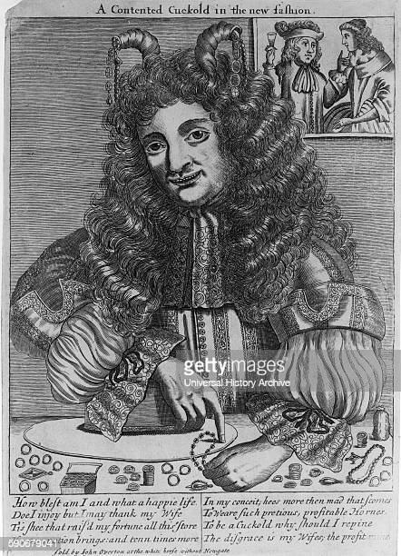 Portrait of a cuckold counting his wealth in the form of jewelry that his unfaithful wife receives as gifts Dated 1680