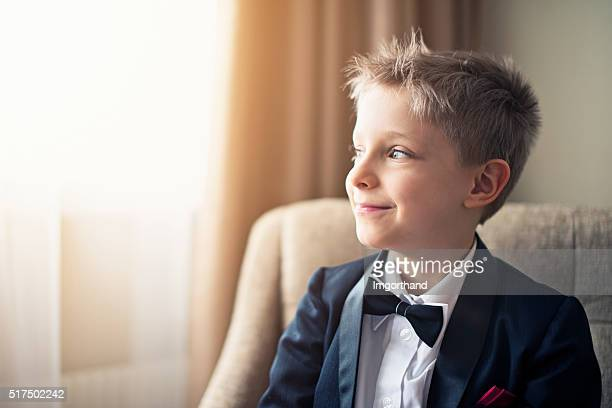 portrait of a cute little business man - formalwear stock photos and pictures