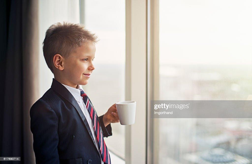 Porträt von niedlich kleines business-Mann ein : Stock-Foto