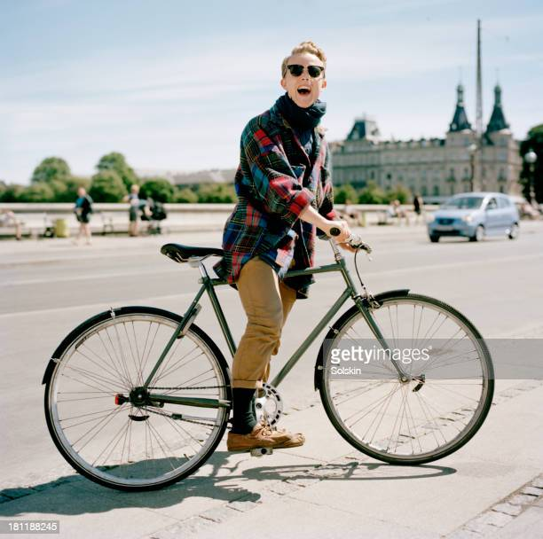 Portrait of a cyclist in city surroundings