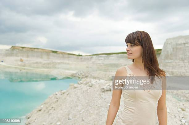 portrait of a danish woman, 26 years old, looking off into the distance, faxe kalkbrud, denmark - 25 29 years stock pictures, royalty-free photos & images